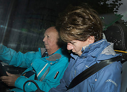 © Licensed to London News Pictures. 06/10/2016. Dorking, UK.  Diane James is driven from her house by her husband John Forrest. Diane James resigned as UKIP party leader yesterday after 18 days in the post. Former leader Nigel Farage has returned as interim leader. Photo credit: Peter Macdiarmid/LNP