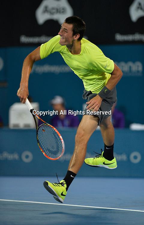 14.01.15 Sydney, Australia. Bernard Tomic (AUS)  in action against Philipp Kohlschreiber (GER)  during his singles match at the Apia International Sydney.
