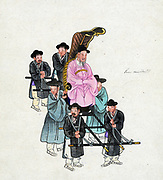 Korean nobleman or government official carried in a form of litter by four porters with straps over shoulders. Two personal attendants hold the chair. Watercolour c1890. Transport Power Manual Fashion Dress Traditional