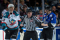 KELOWNA, CANADA - FEBRUARY 12: Braydyn Chizen #22  of the Kelowna Rockets gets in the face of Ralph Jarratt #4 of the Victoria Royals after a hit on Kole Lind #16 of the Kelowna Rockets on February 12, 2018 at Prospera Place in Kelowna, British Columbia, Canada.  (Photo by Marissa Baecker/Shoot the Breeze)  *** Local Caption ***