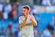 Portsmouth midfielder Ben Close (33) thanks the travelling fans during the EFL Sky Bet League 1 match between Wycombe Wanderers and Portsmouth at Adams Park, High Wycombe, England on 21 September 2019.