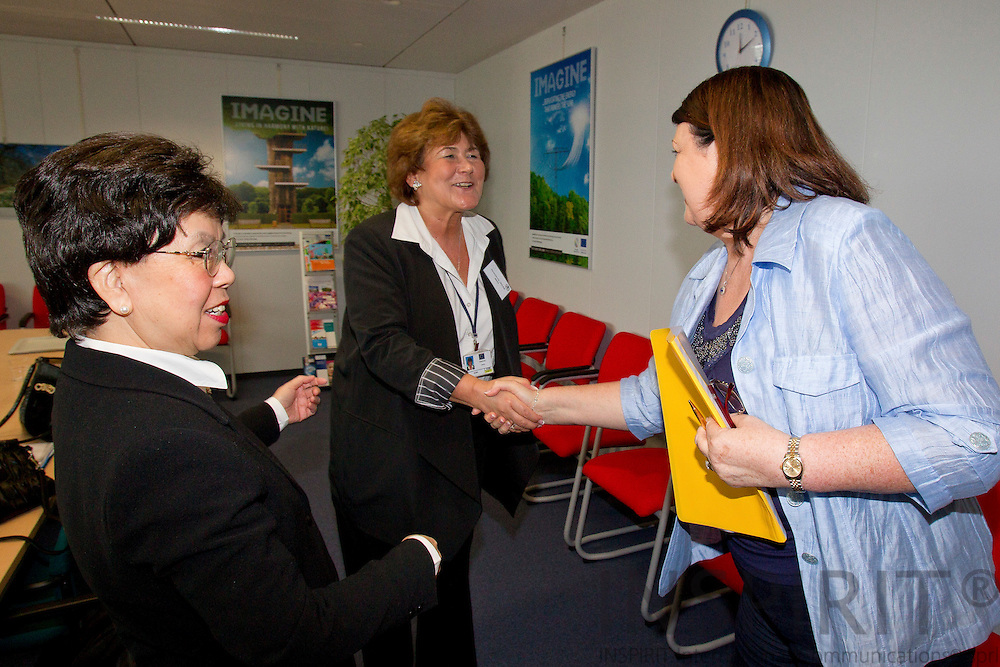From left Dr. Margaret Chan, Director-General for WHO, Zsuzsanna Jakab, Regional Director WHO Europe, greeting Maire Geoghegan-Quinn, EU-Commissioner for Research in connection with the World Health Organization and European Commission Summit in Brussels Friday 25 March 2011. PHOTO: ERIK LUNTANG / INSPIRIT Photo.
