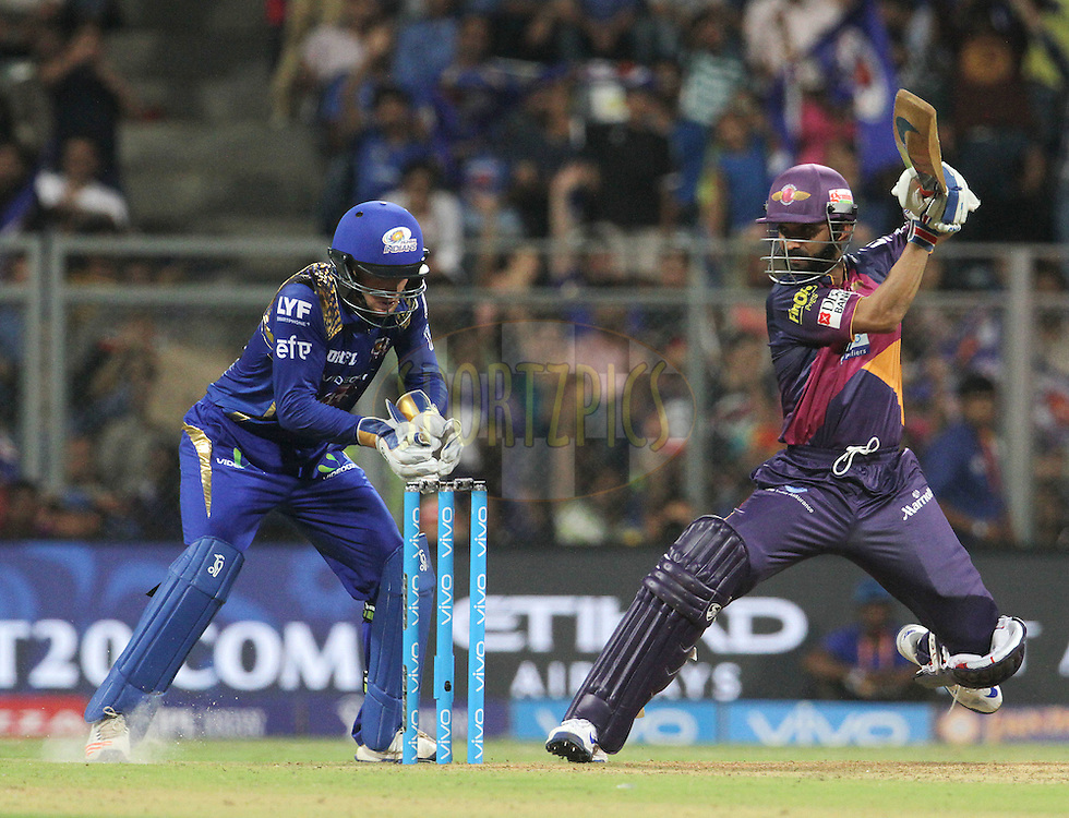 Rising Pune Supergiants player Ajinkya Rahane plays a shot during match 1 of the Vivo Indian Premier League ( IPL ) 2016 between the Mumbai Indians and the Rising Pune Supergiants held at the Wankhede Stadium in Mumbai on the 9th April 2016<br /> <br /> Photo by Vipin Pawar/ IPL/ SPORTZPICS