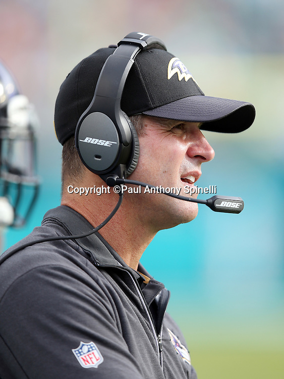 Baltimore Ravens head coach John Harbaugh looks on from the sideline during the 2015 week 13 regular season NFL football game against the Miami Dolphins on Sunday, Dec. 6, 2015 in Miami Gardens, Fla. The Dolphins won the game 15-13. (©Paul Anthony Spinelli)