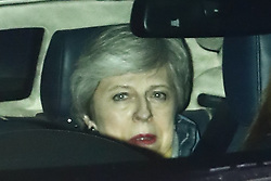 © Licensed to London News Pictures. 12/03/2019. London, UK. Prime Minister Theresa May leaves Parliament after defeat in the meaningful vote on the Brexit withdrawal agreement. Photo credit: Peter Macdiarmid/LNP