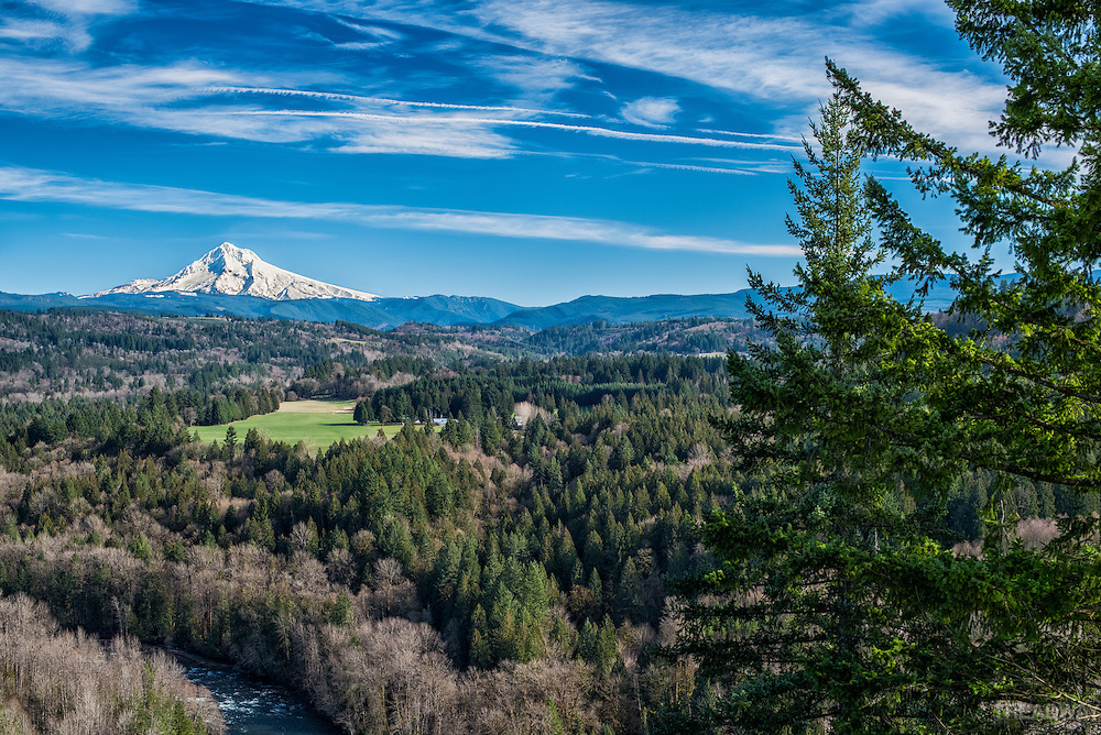 A view of Mt. Hood from the Jonsrud viewpoint in Sandy, Oregon.