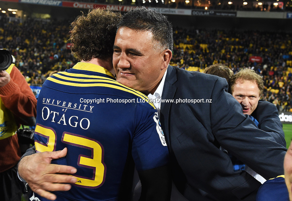 Highlanders coach Jamie Joseph hugs Marty Banks during the Super Rugby Final between the Hurricanes and Highlanders at Westpac Stadium in Wellington., New Zealand. Saturday 4 July 2015. Copyright Photo: Andrew Cornaga / www.Photosport.nz