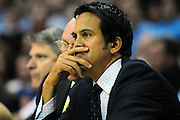 March 29, 2010; Cleveland, OH, USA; Miami Heat head coach Erik Spoelstra during the second quarter against the Cleveland Cavaliers at Quicken Loans Arena. Mandatory Credit: Jason Miller-US PRESSWIRE
