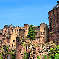 Heidelberg Castle Ruins in Heidelberg, Germany <br />