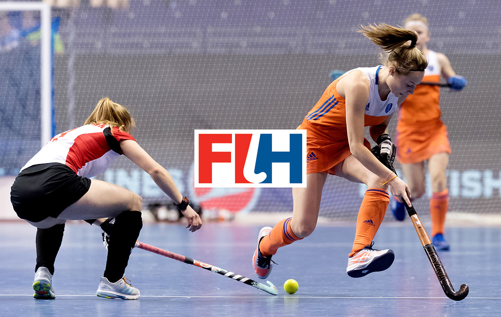 BERLIN - Indoor Hockey World Cup<br /> Women: Poland - Netherlands<br /> foto: Marijn Veen.<br /> WORLDSPORTPICS COPYRIGHT FRANK UIJLENBROEK