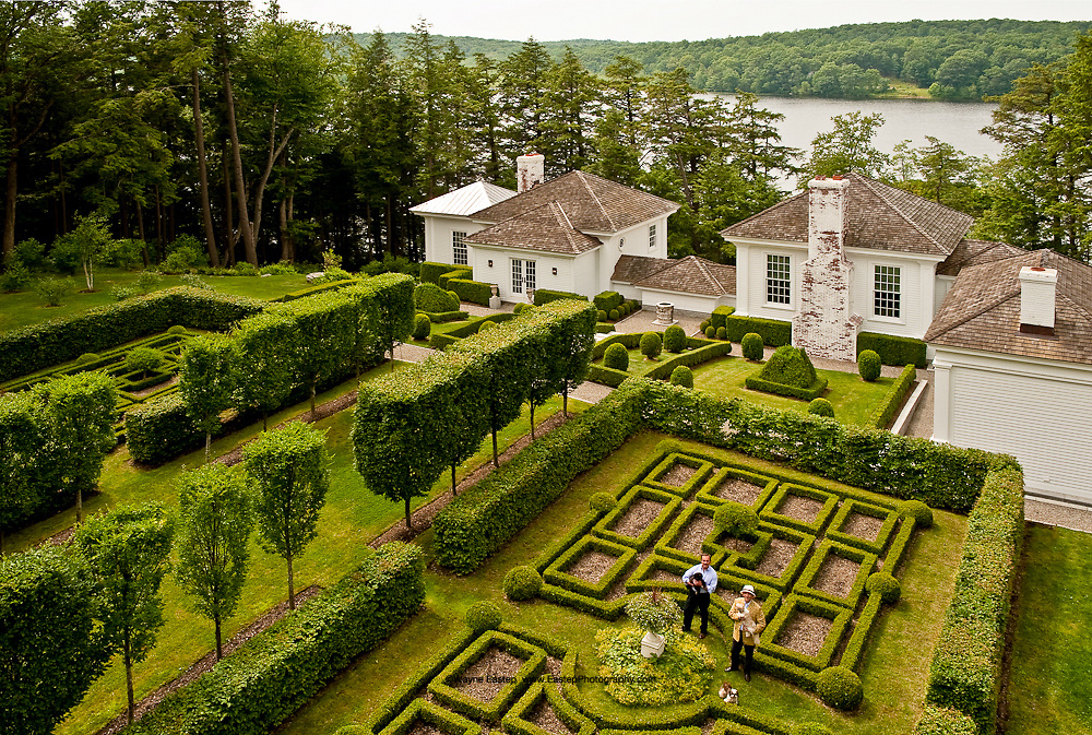 Formal gardens, house and lake, Designer Robert Couturier, South Kent, CT. GE-Monogram Advertising Campaign