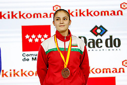 November 10, 2018 - Madrid, Madrid, Spain - Goranova Ivet (BUL) win the bronce medal and the third place of the tournament of Female Kumite -55 Kg during the Finals of Karate World Championship celebrates in Wizink Center, Madrid, Spain, on November 10th, 2018. (Credit Image: © AFP7 via ZUMA Wire)