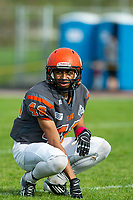 KELOWNA, BC - OCTOBER 6: Donovin Small #46 of Okanagan Sun kneels on the field against the VI Raiders  BCFC regular season at the Apple Bowl on October 6, 2019 in Kelowna, Canada. (Photo by Marissa Baecker/Shoot the Breeze)