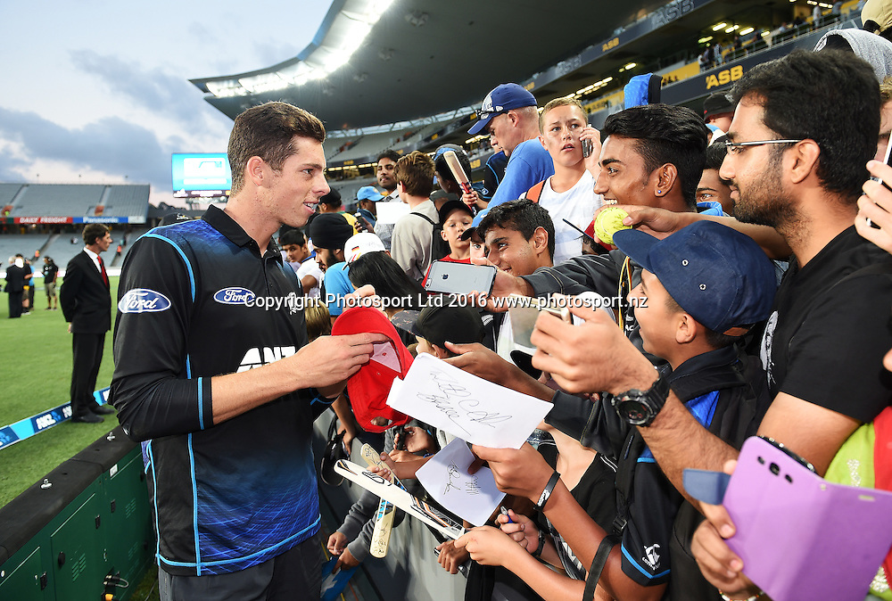Mitchell Santner and fans. New Zealand Black Caps v Australia, Chappell Hadlee Trophy and ANZ ODI Cricket Series. Eden Park, Auckland, New Zealand. Wednesday 3 February 2016. Copyright photo: Andrew Cornaga / www.photosport.nz