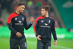 STOKE-ON-TRENT, ENGLAND - Tuesday, January 5, 2016: Liverpool's Jordon Ibe and Cameron Brannagan warm-up before the Football League Cup Semi-Final 1st Leg match against Stoke City at the Britannia Stadium. (Pic by David Rawcliffe/Propaganda)