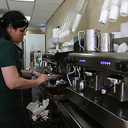 Making Cuban coffee at Versailles Restaurant a cafeteria, restaurant, and bakery, and a landmark eating establishment located on Calle Ocho (8th St) in Little Havana, Miami.<br /> Photography by Jose More