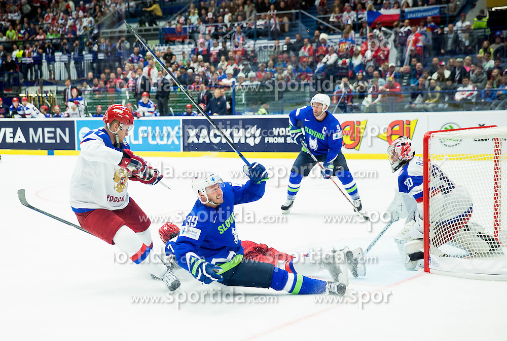 Jan Mursak of Slovenia vs Konstantin Barulin of Russia during Ice Hockey match between Russia and Slovenia at Day 3 in Group B of 2015 IIHF World Championship, on May 3, 2015 in CEZ Arena, Ostrava, Czech Republic. Photo by Vid Ponikvar / Sportida