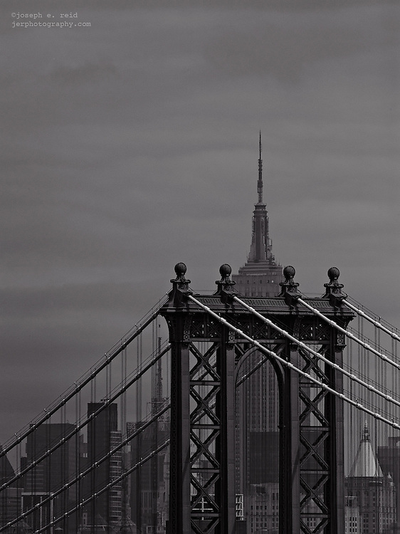 Manhattan Bridge and Empire State Building from Brooklyn, New York, US