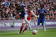 Chelsea Ladies defender Ana Marques Borges jumps into a challenge during the SSE Women's FA Cup Final match between Chelsea Ladies and Arsenal Ladies at Wembley Stadium, London, England on 14 May 2016. Photo by Nigel Cole