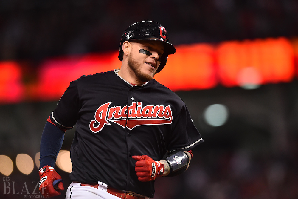 Oct 25, 2016; Cleveland, OH, USA; Cleveland Indians catcher Roberto Perez (55) rounds the bases after a three-run home run against the Chicago Cubs in the 8th inning in game one of the 2016 World Series at Progressive Field. Mandatory Credit: Ken Blaze-USA TODAY Sports