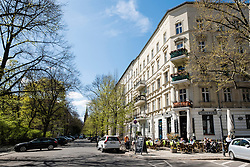 View of old apartment buildings on Kollwitzplatz in Prenzlauer Berg Berlin Germany