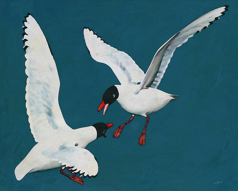 The conflict between two Black Headed Seagulls is on! There is something rather intense behind the ocean vibes of this new fine art piece by Jan Keteleer. At the same time, there is something of a natural peace and beauty about the visual. What do you think? When you look closely, what do you ultimately see? -<br />