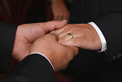 Two men at their Civil Ceremony holding hands and showing wedding ring
