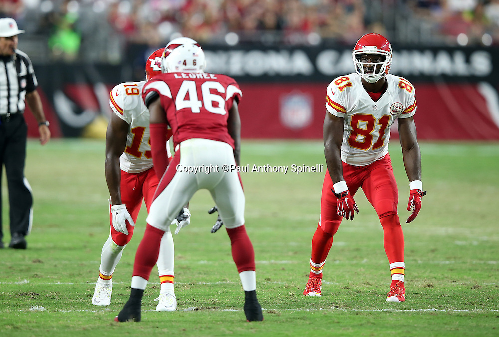 Kansas City Chiefs wide receiver Jason Avant (81) and Kansas City Chiefs wide receiver Jeremy Maclin (19) get set to go out for a pass during the 2015 NFL preseason football game against the Arizona Cardinals on Saturday, Aug. 15, 2015 in Glendale, Ariz. The Chiefs won the game 34-19. (©Paul Anthony Spinelli)