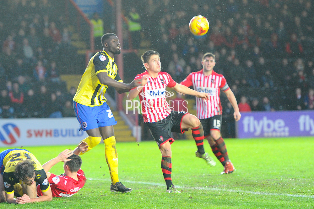 *** during the Sky Bet League 2 match between Exeter City and Dagenham and Redbridge at St James' Park, Exeter, England on 2 January 2016. Photo by Graham Hunt.