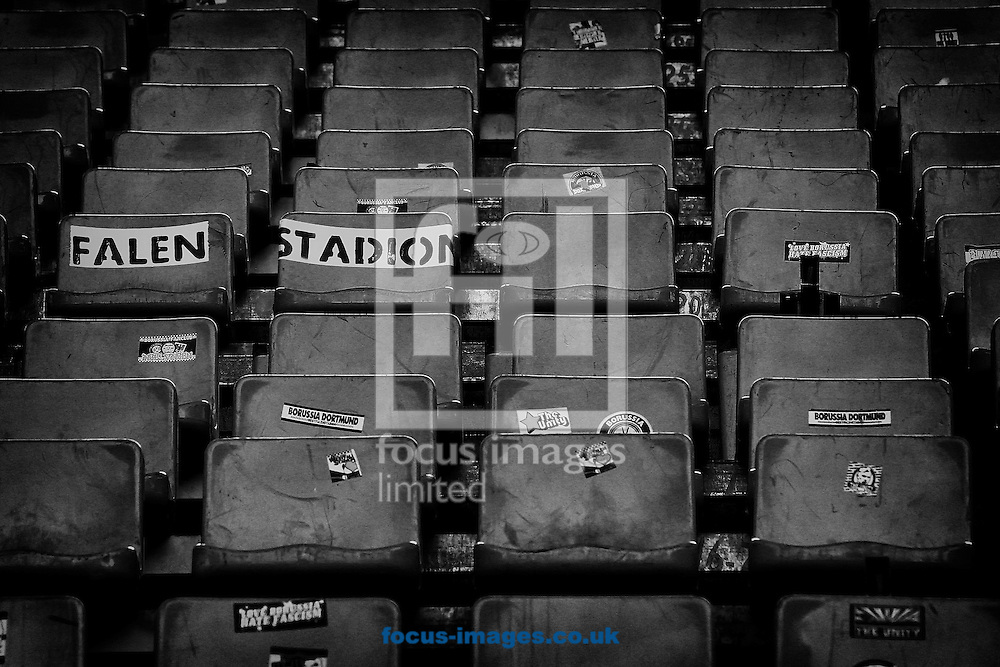 The temporary seating installed in the south stand of the Westfalenstadion, home of Borussia Dortmund before the UEFA Champions League match against Real Madrid<br /> Picture by Richard Calver/Focus Images Ltd +447792 981244<br /> 08/04/2014