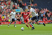 Stewart Downing & Paul Huntington during the Sky Bet Championship match between Preston North End and Middlesbrough at Deepdale, Preston, England on 9 August 2015. Photo by Simon Davies.