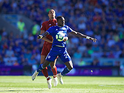 CARDIFF, WALES - Saturday, April 20, 2019: Liverpool's Joe Gomez (L) and Cardiff City's Oumar Niasse during the FA Premier League match between Cardiff City FC and Liverpool FC at the Cardiff City Stadium. (Pic by David Rawcliffe/Propaganda)