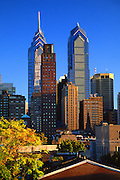Philadelphia Skyline, City Center Skyscrapers. Houses Foreground, Philadelphia PA