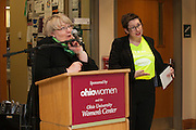 Pam Benoit, Executive Vice President & Provost, speaks at the  OhioWomen Open House, while Dr. M. Geneva Murray shows off her Ohio Woman t-shirt, outside of the Women's Center in Baker Center, on Thursday, November 19, 2015. Photo by Kaitlin Owens