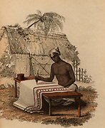 Hand-painting cotton cloth: India. Hand-coloured engraving published Rudolph Ackermann, London, 1822.