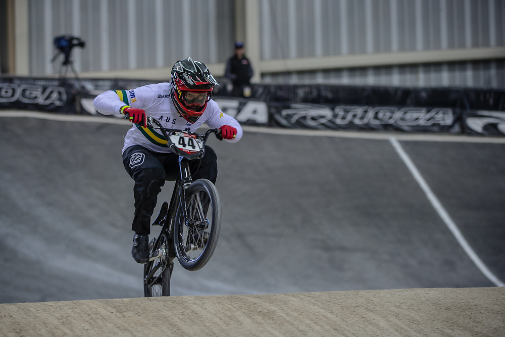 #44 (DEAN Anthony) AUS at Round 2 of the 2019 UCI BMX Supercross World Cup in Manchester, Great Britain