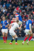Twickenham, United Kingdom. 7th February, Louis PICAMOLES, collects the high ball during the England vs France, 2019 Guinness Six Nations Rugby Match   played at  the  RFU Stadium, Twickenham, England, <br /> &copy; PeterSPURRIER: Intersport Images