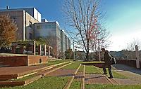A student walks to class on Centennial Campus