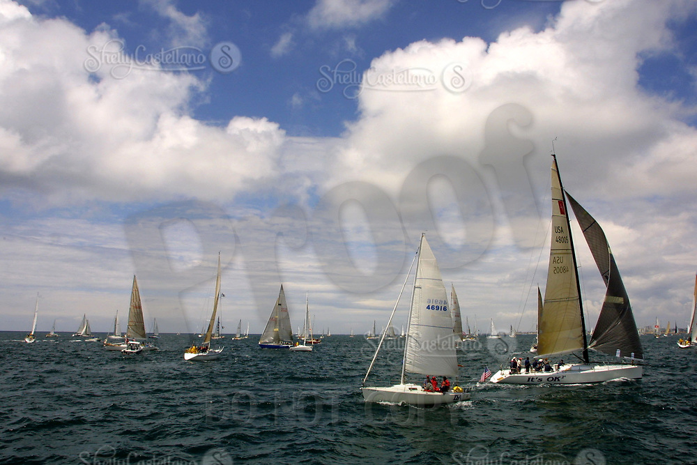 Apr 26, 2002; Newport Beach, California, USA; Boats of all classes gather for the start of the 55th annual 125 mile Newport to Ensenada Yacht Race.<br />