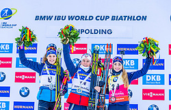 15.01.2020, Chiemgau Arena, Ruhpolding, GER, IBU Weltcup Biathlon, Sprint, Damen, Siegerehrung, im Bild v.l. Hanna Oeberg (SWE), Tiril Eckhoff (NOR), Dorothea Wierer (ITA) // f.l. Hanna Oeberg of Sweden Tiril Eckhoff of Norway and Dorothea Wierer of Italy during the winner ceremony for the women sprint competition of BMW IBU Biathlon World Cup at the Chiemgau Arena in Ruhpolding, Germany on 2020/01/15. EXPA Pictures © 2020, PhotoCredit: EXPA/ Stefan Adelsberger