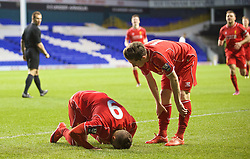 LONDON, ENGLAND - Friday, April 17, 2015: Liverpool's Samid Yesil celebrates scoring the third goal, his second, against Tottenham Hotspur during the Under 21 FA Premier League match at White Hart Lane. (Pic by David Rawcliffe/Propaganda)