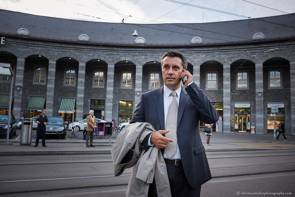 Businessman at Bahnhof Enge, Zürich