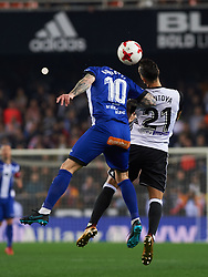 January 17, 2018 - Valencia, Valencia, Spain - Martin Montoya of Valencia CF and John Guidetti of Deportivo Alaves during the Spanish Copa del Rey, Round of 8, match between Valencia CF and Deportivo Alaves at Estadio de Mestalla on jenuary 17, 2018 in Valencia, Spain. (Credit Image: © Maria Jose Segovia/NurPhoto via ZUMA Press)