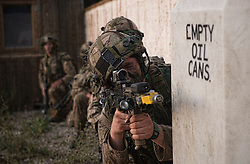 Image shows Officer Cadets from Royal Military Academy Sandhurst (RMAS) participating in Exercise Dynamic Victory on Hohenfels Training Area in Germany.<br /> <br /> 19/07/2016<br /> Credit should read: Cpl Mark Larner RY<br /> <br /> Exercise Dynamic Victory is the last of three accumulative confirmation exercises of the 44 week commissioning course bofore officer cadets are given their commission and proceed to Phase 2 trade training. It tests the cadets suitability to become junior officers in the field army. The skills and drills the Officer Cadets have learned over the previous terms are brought together, forcing the cadets to work in an arduous overseas environment whilst thinking about more than just basic soldiering.
