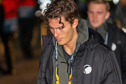 Jonas Wind of FC Copenhagen makes his way up the steps to the entrance of Parkhead ahead of the Europa League match between Celtic and FC Copenhagen at Celtic Park, Glasgow, Scotland on 27 February 2020.