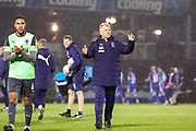AFC Wimbledon Manager Glyn Hodges celebrates at full time during the EFL Sky Bet League 1 match between Bristol Rovers and AFC Wimbledon at the Memorial Stadium, Bristol, England on 26 December 2019.