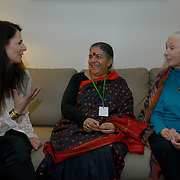 Osprey Orielle Lake, left, greets Dr. Vandana Shiva, and Dr. Jane Goodall, both are delegates to the International Women's Earth and Climate Summit ,delegates to the International Women's Earth and Climate Summit register in preparation for the summit. Leaders from 35+ countries gathered for the drafting of a Women's Climate Action Agenda in Suffern, New York September 20-23rd, 2013 as part of the International Women's Earth and Climate Summit.  For a full list of Summit delegates and an agenda visit www.iweci.org. Photo by Lori Waselchuk/ MAGAZINES OUT