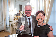 "New York, NY - 3 June 2016. Chef David Bouley and Saori Kawano after a ceremony awarding Bouley the title Japanese Cuisine Goodwill Ambassador for his work in bringing Japanese cuisine to the U.S. Kawano is co-author, with Don Gabor, of ""Chef's Choice: 22 culinary masters tell how Japanese food culture influenced their careers and cuisine."""