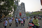 Old Town, St. Joseph Cathedral. School children going home after school.