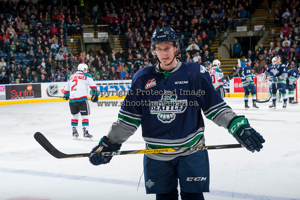 KELOWNA, CANADA - FEBRUARY 13: Austin Strand #2 of the Seattle Thunderbirds stands on the ice against the Kelowna Rockets on February 13, 2017 at Prospera Place in Kelowna, British Columbia, Canada.  (Photo by Marissa Baecker/Shoot the Breeze)  *** Local Caption ***